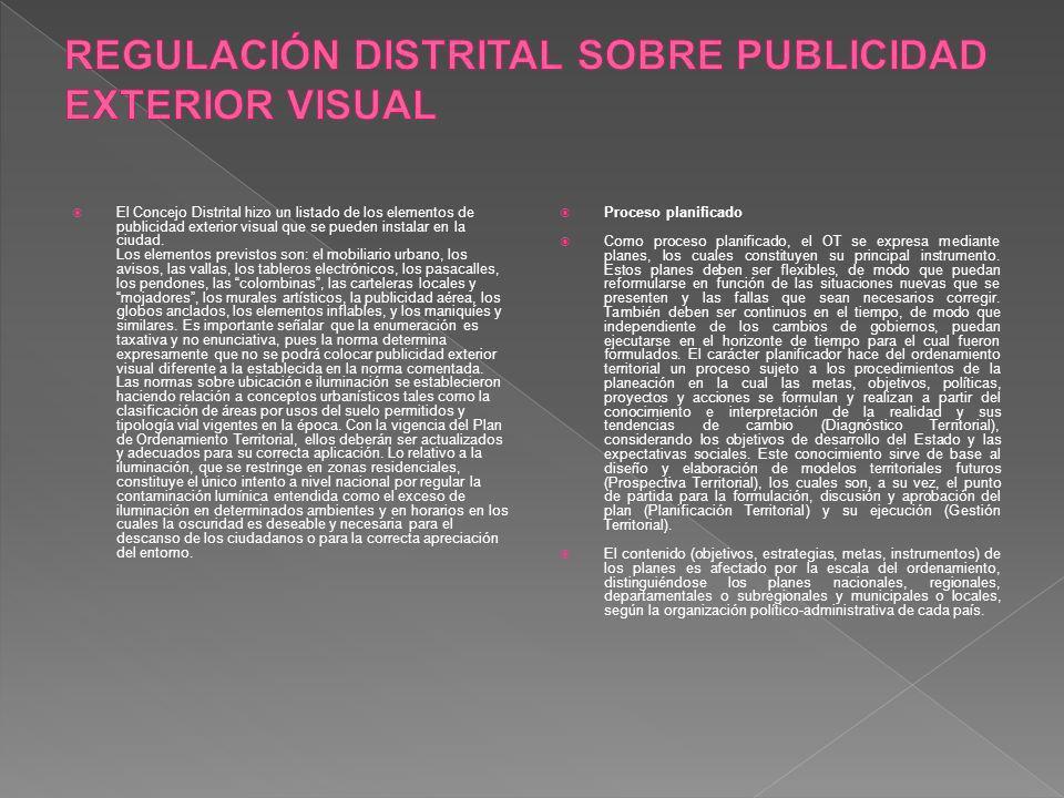 REGULACIÓN DISTRITAL SOBRE PUBLICIDAD EXTERIOR VISUAL