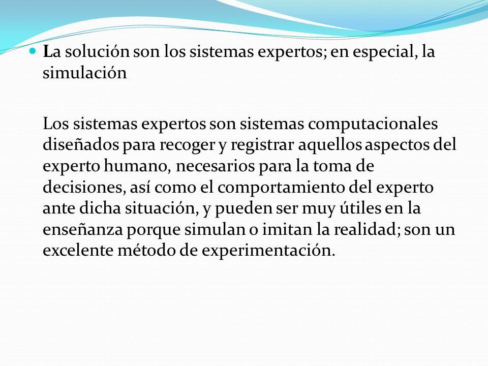 La solución son los sistemas expertos; en especial, la simulación