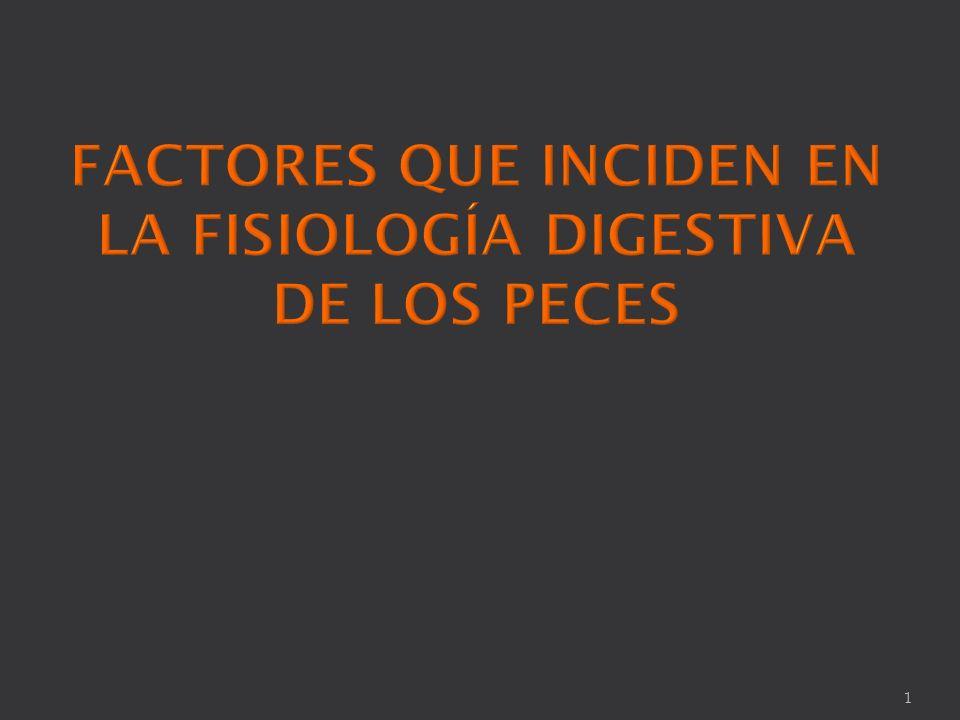FACTORES QUE INCIDEN EN LA FISIOLOGÍA DIGESTIVA DE LOS PECES
