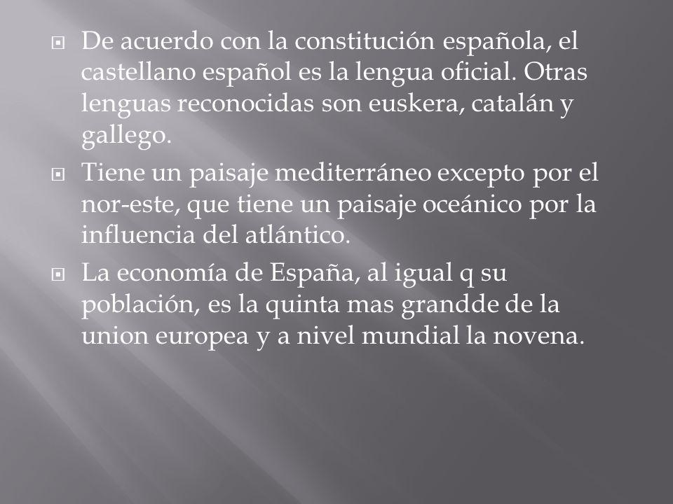 De acuerdo con la constitución española, el castellano español es la lengua oficial. Otras lenguas reconocidas son euskera, catalán y gallego.