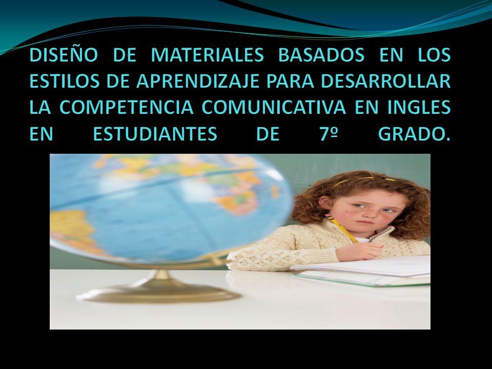 DISEÑO DE MATERIALES BASADOS EN LOS ESTILOS DE APRENDIZAJE PARA DESARROLLAR LA COMPETENCIA COMUNICATIVA EN INGLES EN ESTUDIANTES DE 7º GRADO.