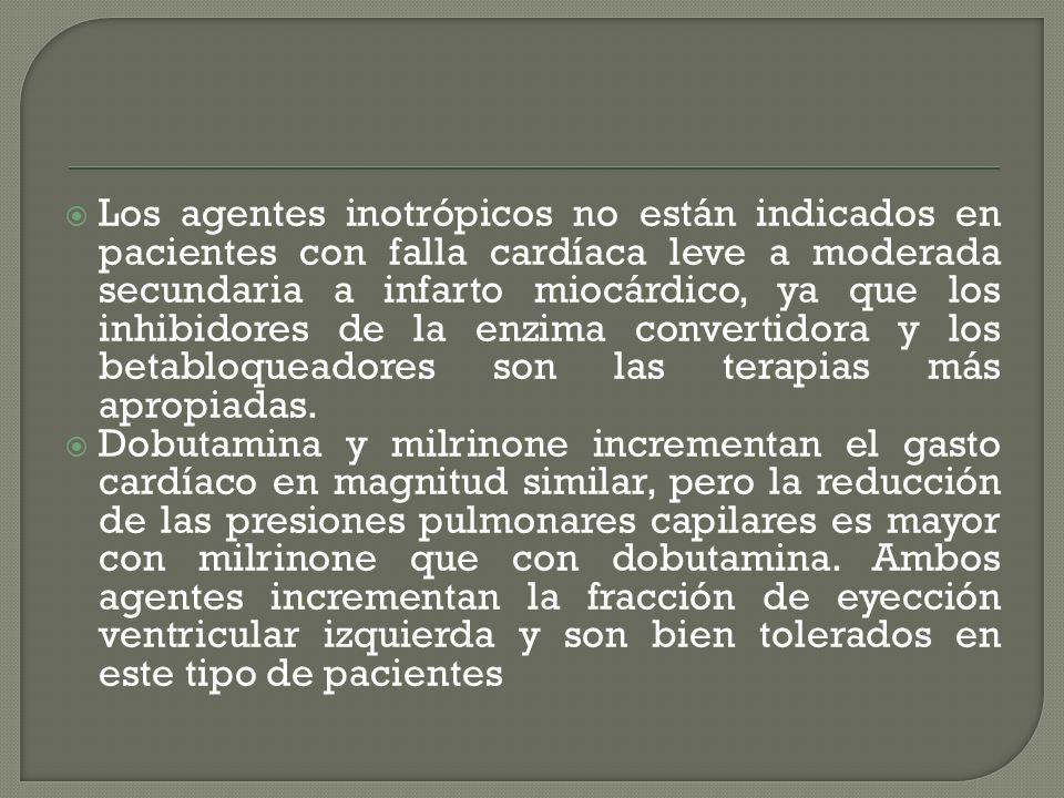 Los agentes inotrópicos no están indicados en pacientes con falla cardíaca leve a moderada secundaria a infarto miocárdico, ya que los inhibidores de la enzima convertidora y los betabloqueadores son las terapias más apropiadas.