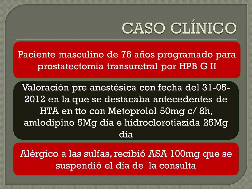 CASO CLÍNICO Paciente masculino de 76 años programado para prostatectomia transuretral por HPB G II.