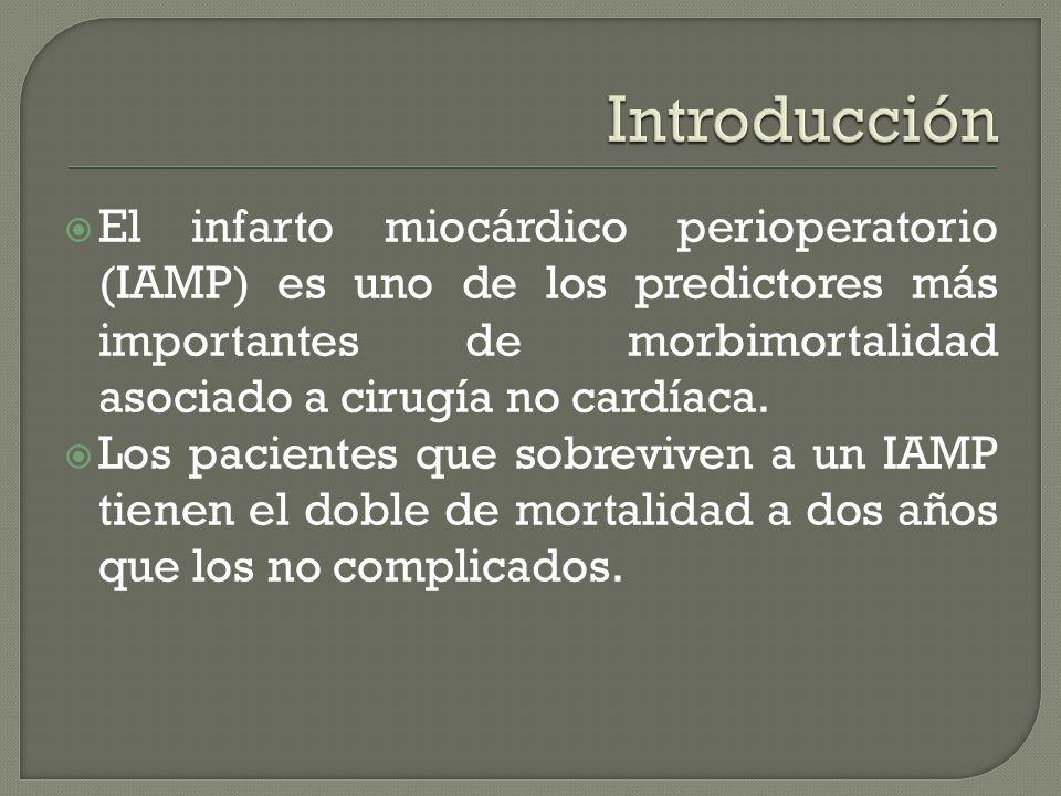 Introducción El infarto miocárdico perioperatorio (IAMP) es uno de los predictores más importantes de morbimortalidad asociado a cirugía no cardíaca.