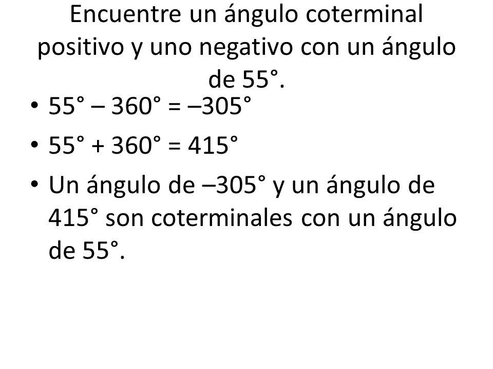 Encuentre un ángulo coterminal positivo y uno negativo con un ángulo de 55°.