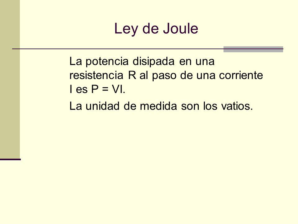 Ley de Joule La potencia disipada en una resistencia R al paso de una corriente I es P = VI.