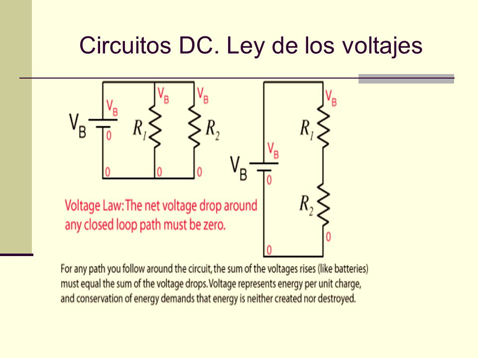 Circuitos DC. Ley de los voltajes