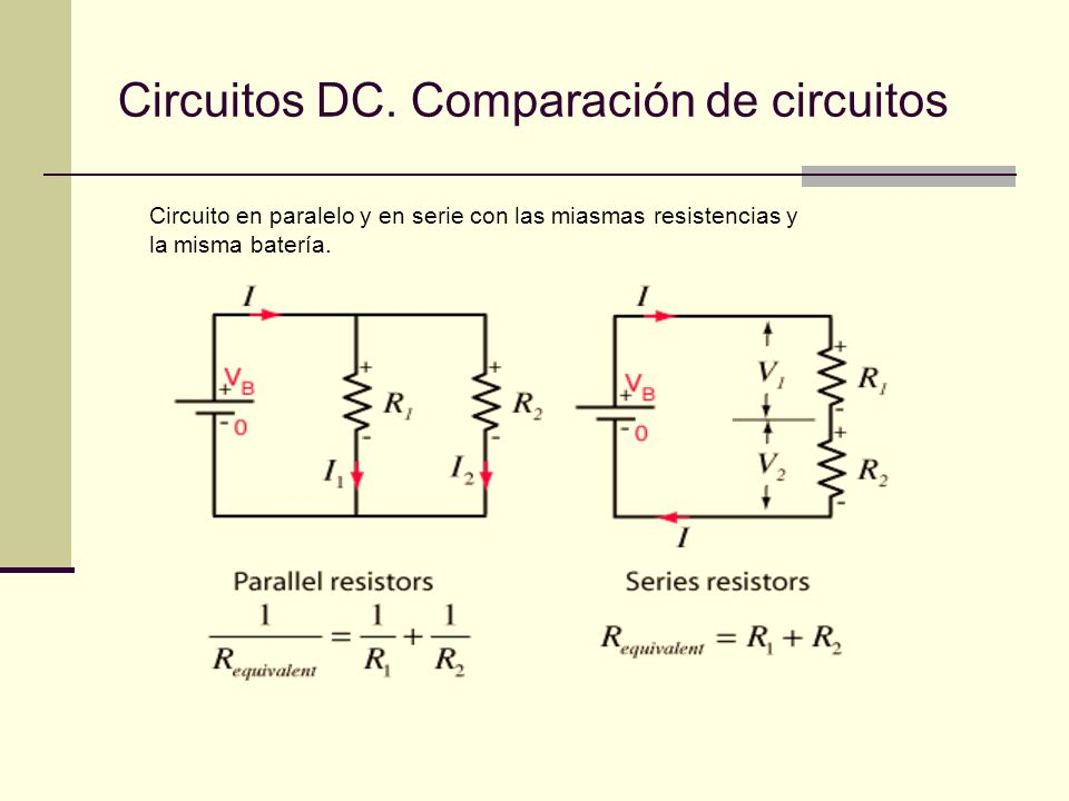 Circuitos DC. Comparación de circuitos