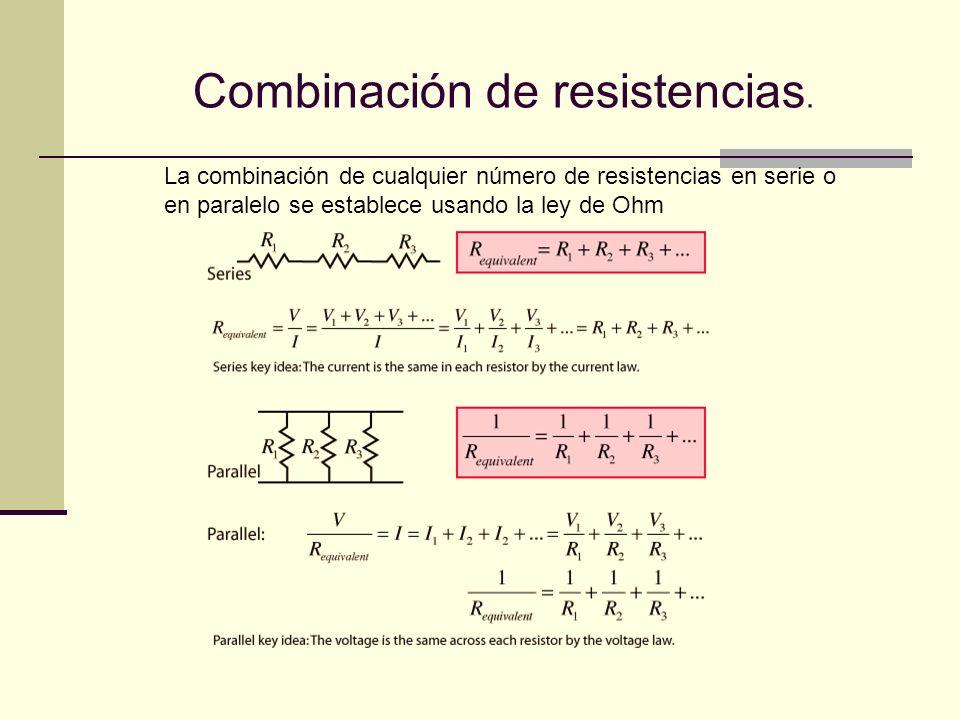 Combinación de resistencias.