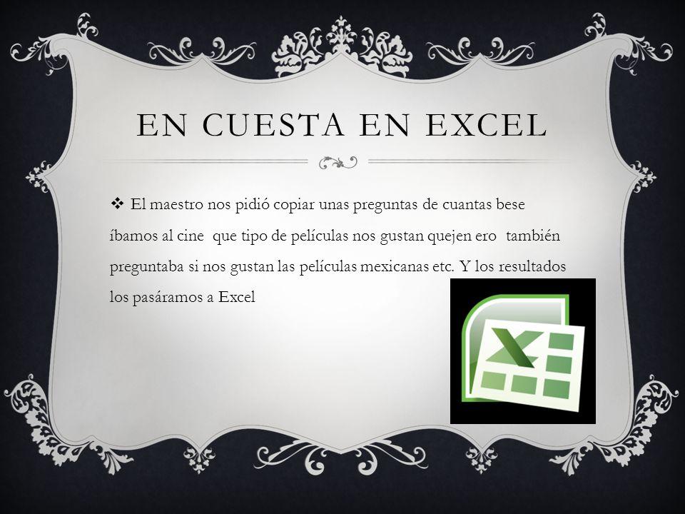 En cuesta en Excel