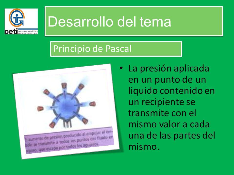 Desarrollo del tema Principio de Pascal