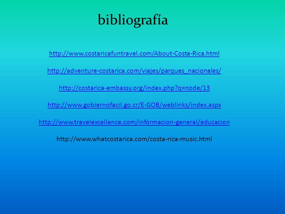 bibliografía http://www.costaricafuntravel.com/About-Costa-Rica.html
