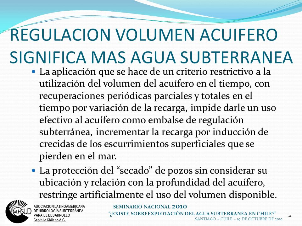 REGULACION VOLUMEN ACUIFERO SIGNIFICA MAS AGUA SUBTERRANEA