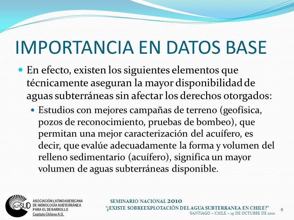 IMPORTANCIA EN DATOS BASE