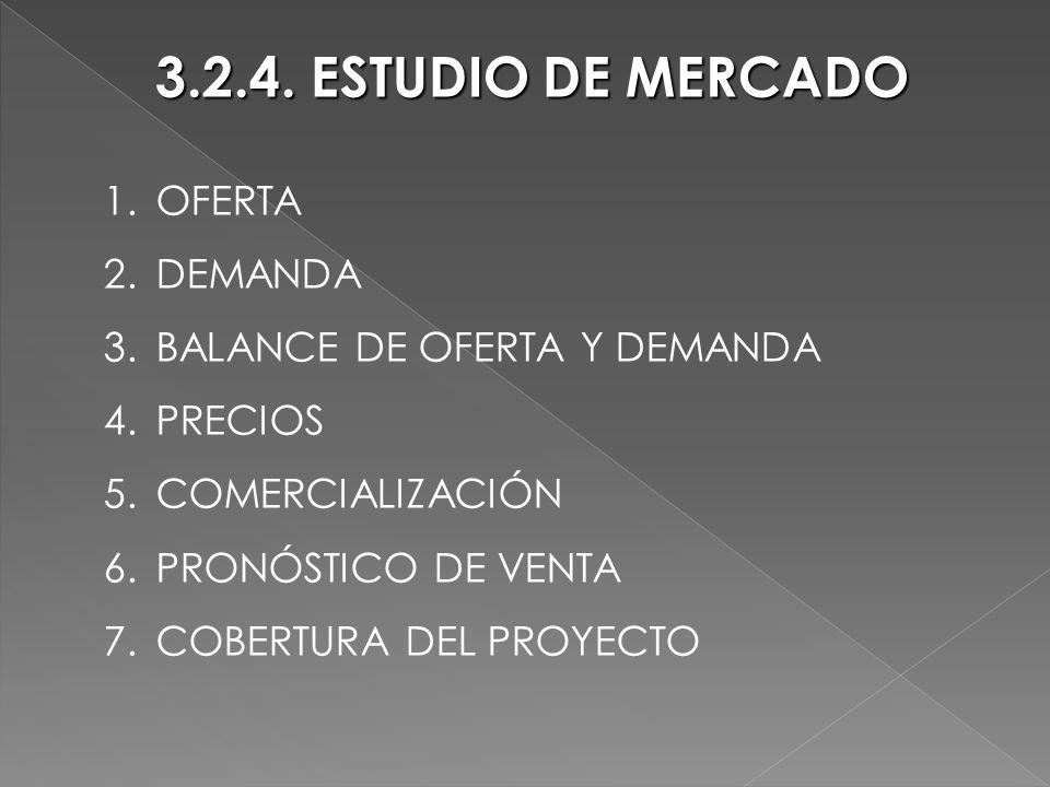 3.2.4. ESTUDIO DE MERCADO OFERTA DEMANDA BALANCE DE OFERTA Y DEMANDA