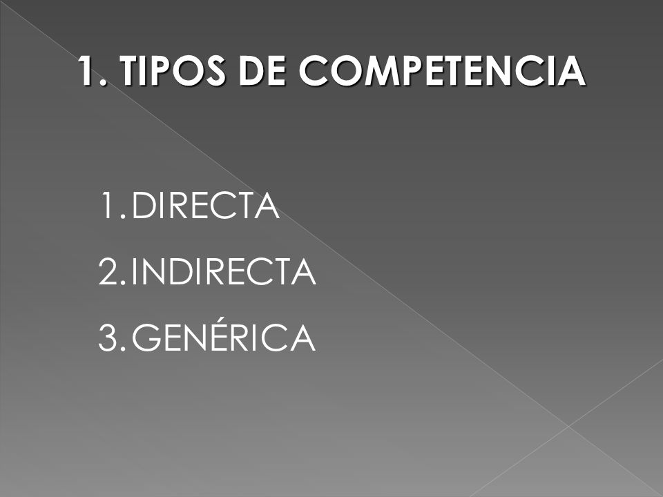 1. TIPOS DE COMPETENCIA DIRECTA INDIRECTA GENÉRICA