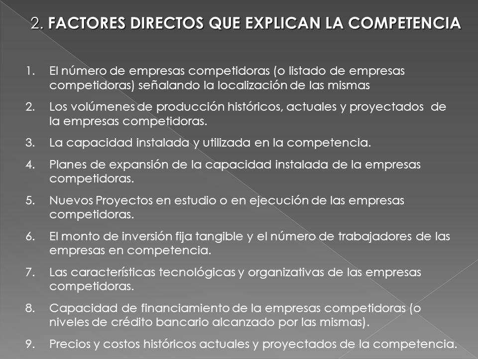 2. FACTORES DIRECTOS QUE EXPLICAN LA COMPETENCIA