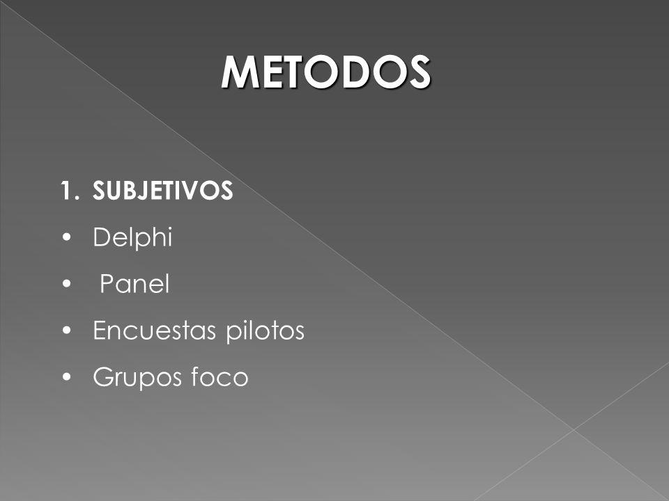 METODOS SUBJETIVOS Delphi Panel Encuestas pilotos Grupos foco
