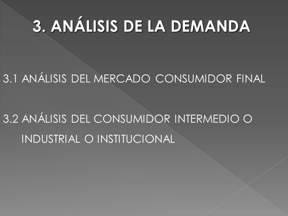 3. ANÁLISIS DE LA DEMANDA 3.1 ANÁLISIS DEL MERCADO CONSUMIDOR FINAL