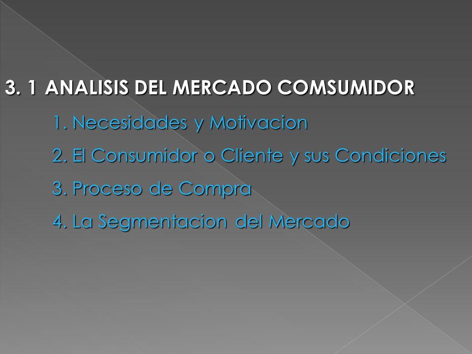3. 1 ANALISIS DEL MERCADO COMSUMIDOR