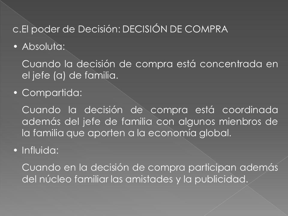 c.El poder de Decisión: DECISIÓN DE COMPRA
