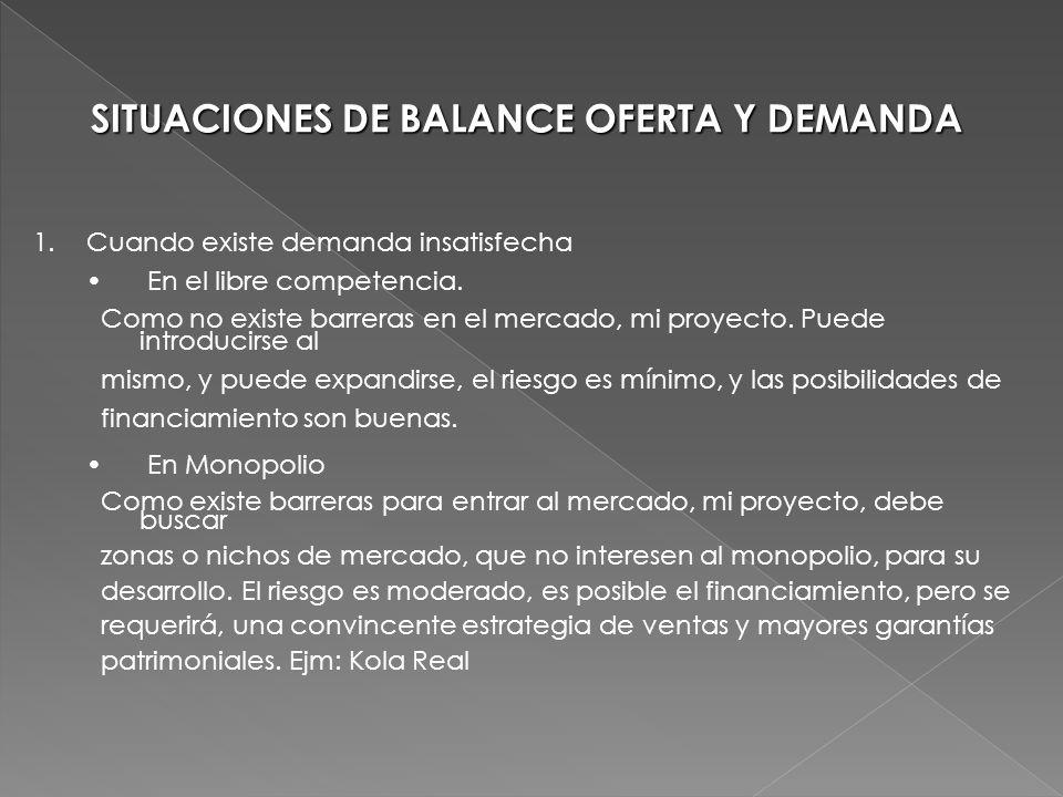 SITUACIONES DE BALANCE OFERTA Y DEMANDA