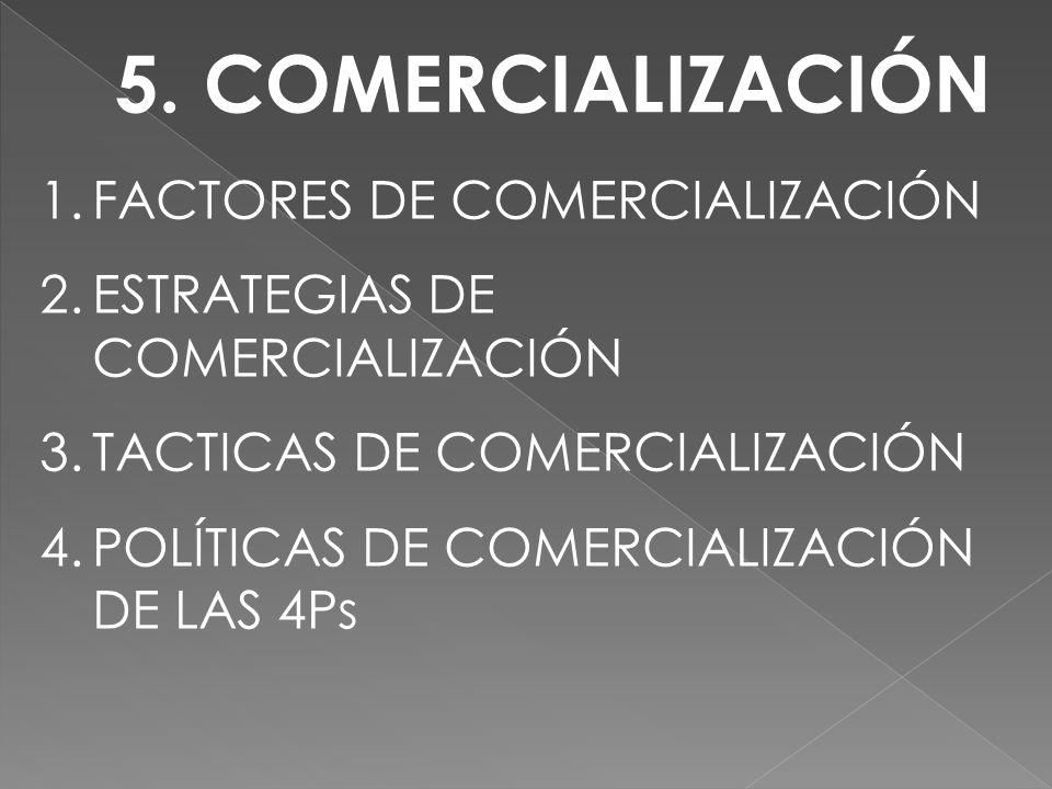 5. COMERCIALIZACIÓN FACTORES DE COMERCIALIZACIÓN