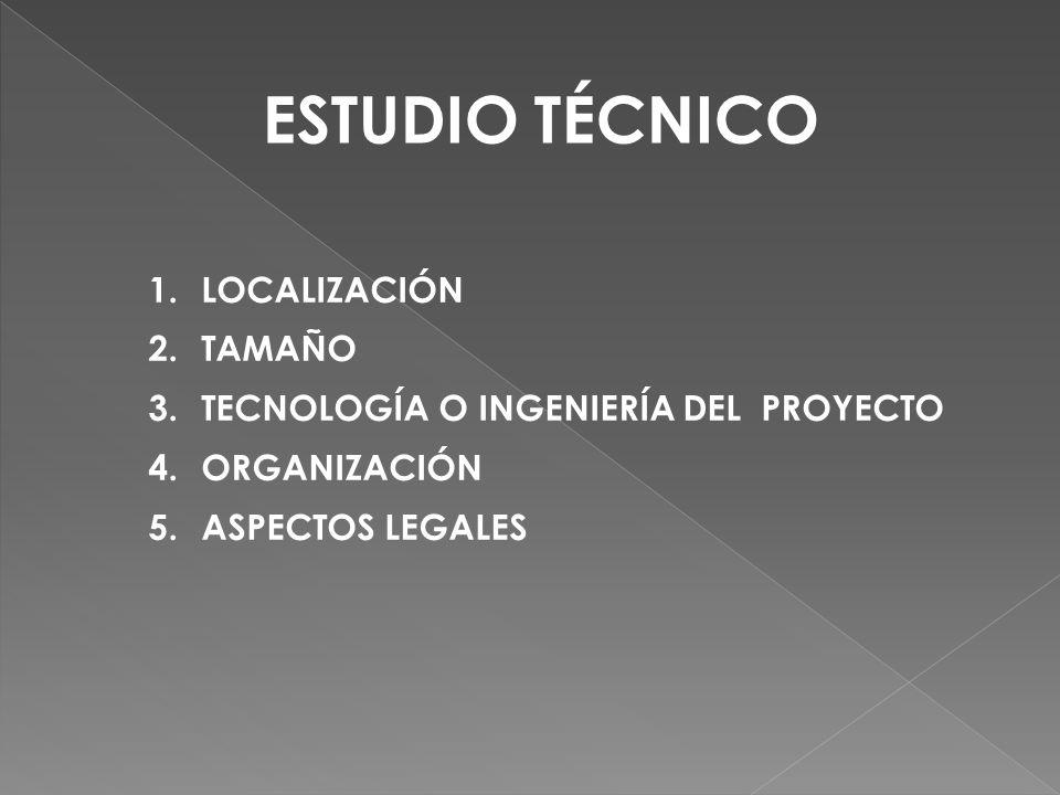 ESTUDIO TÉCNICO LOCALIZACIÓN TAMAÑO
