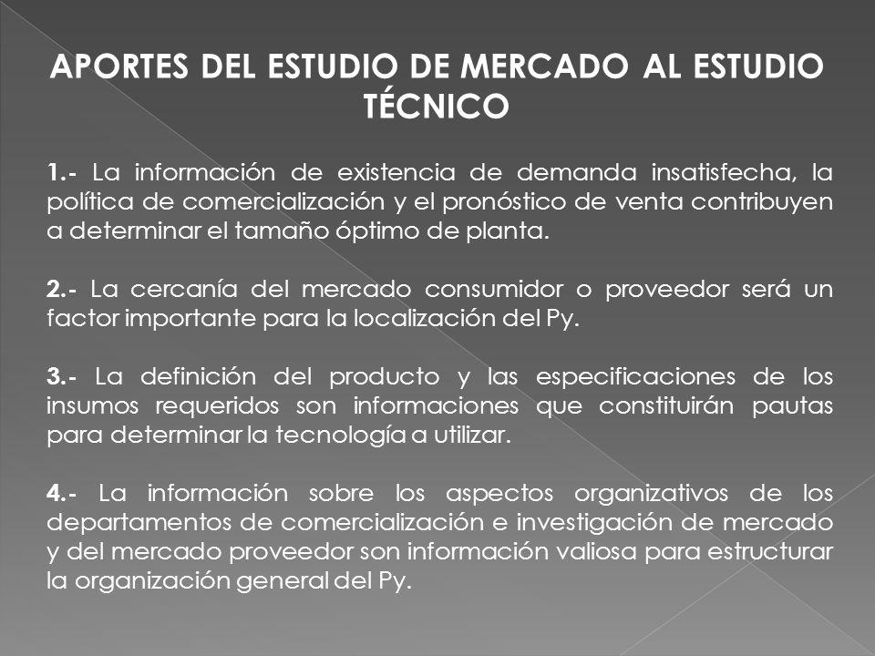 APORTES DEL ESTUDIO DE MERCADO AL ESTUDIO TÉCNICO