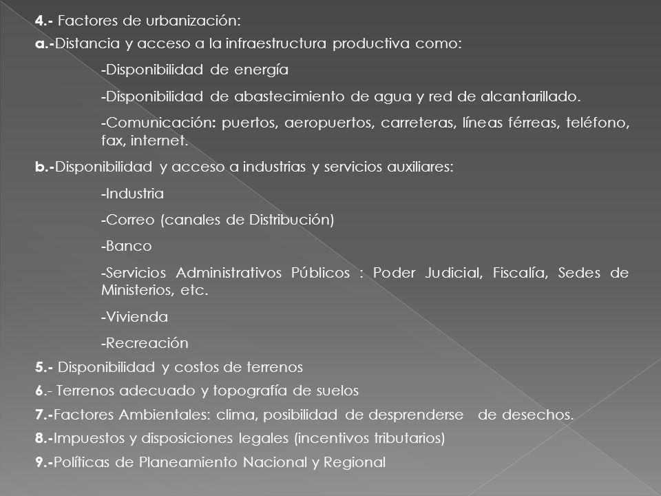 4.- Factores de urbanización:
