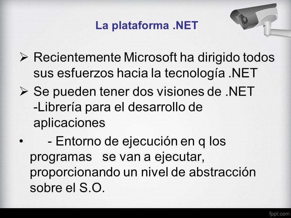 La plataforma .NET Recientemente Microsoft ha dirigido todos sus esfuerzos hacia la tecnología .NET.