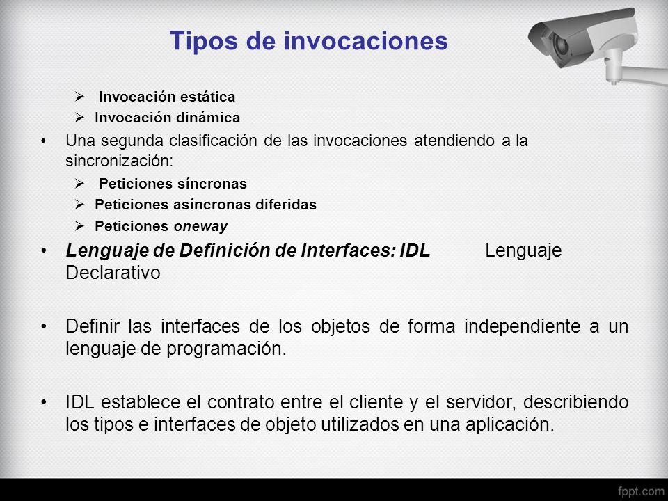 Tipos de invocaciones Invocación estática. Invocación dinámica. Una segunda clasificación de las invocaciones atendiendo a la sincronización: