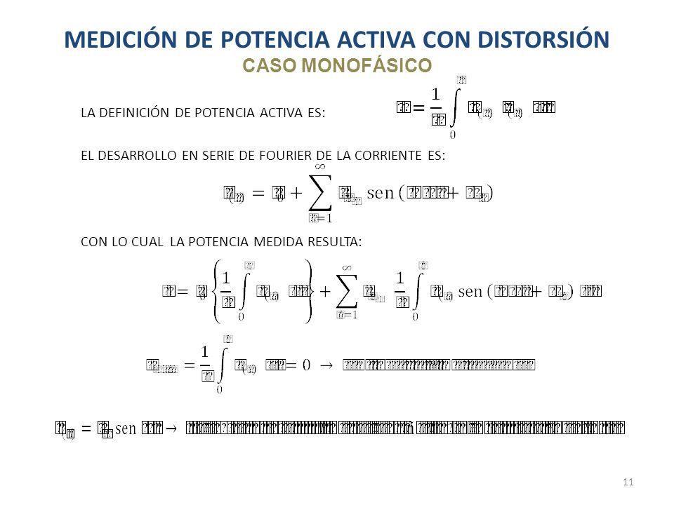MEDICIÓN DE POTENCIA ACTIVA CON DISTORSIÓN CASO MONOFÁSICO