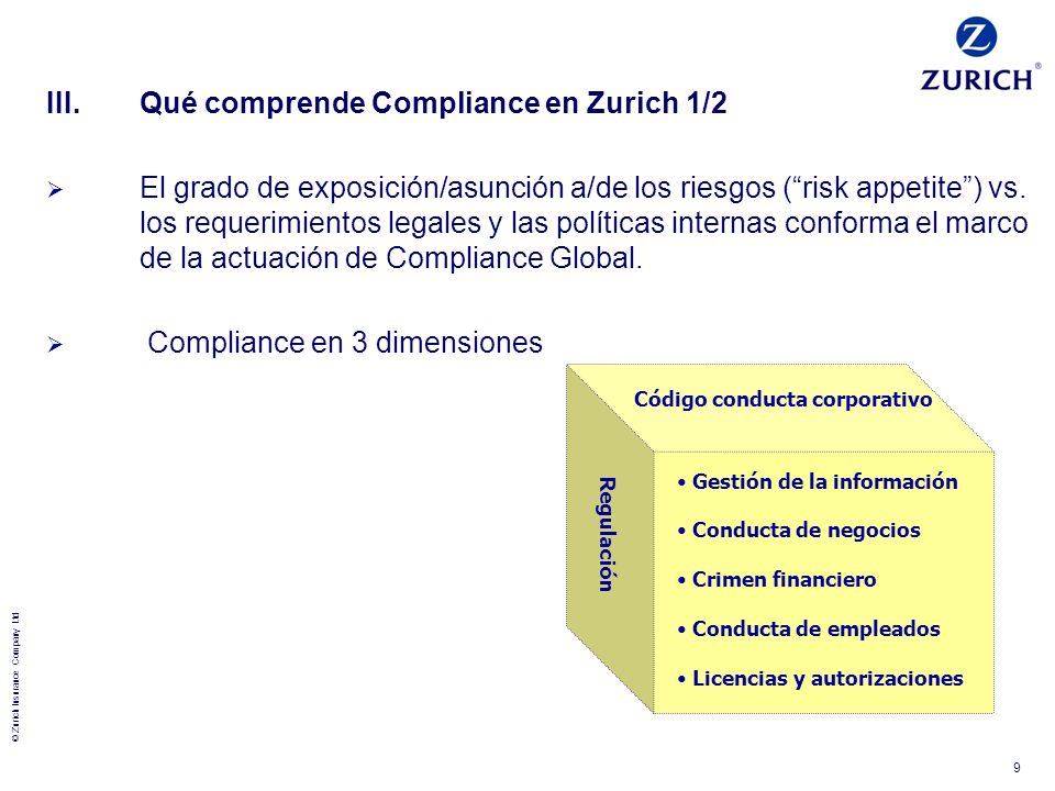 III. Qué comprende Compliance en Zurich 1/2