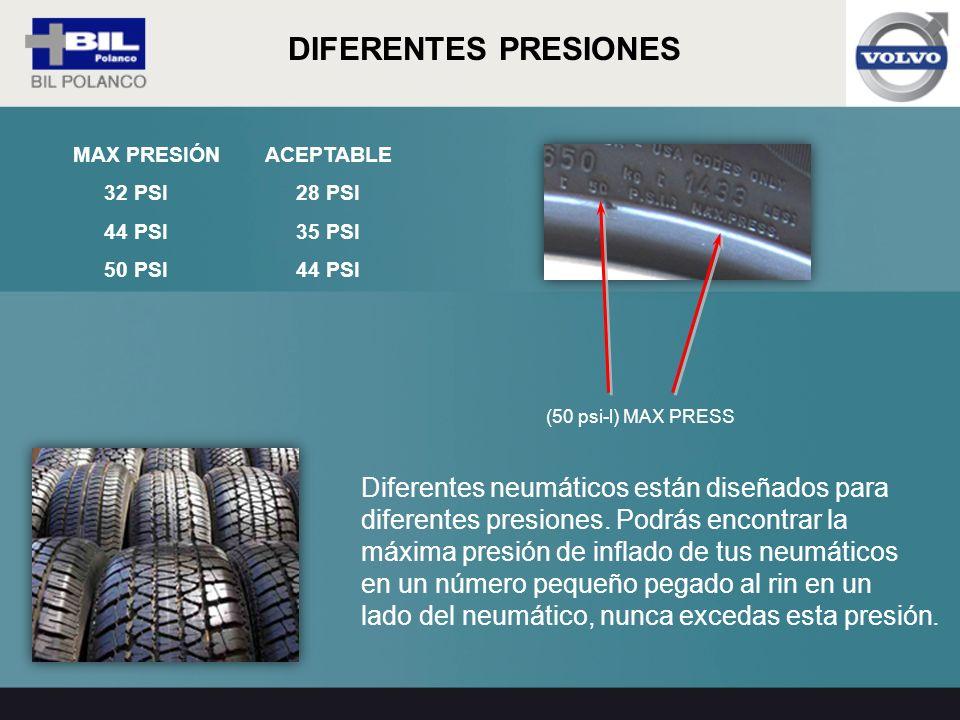 DIFERENTES PRESIONES Diferentes neumáticos están diseñados para