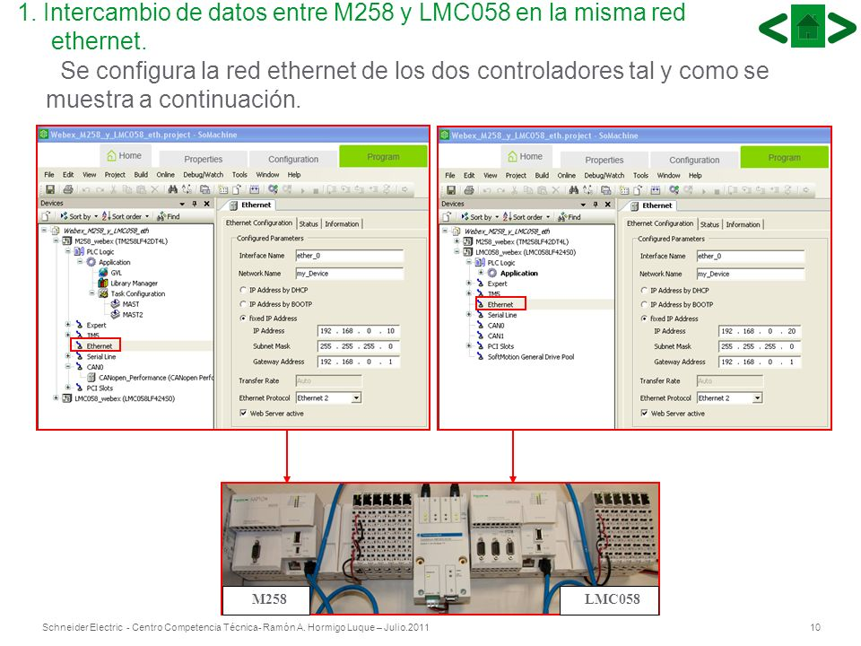 1. Intercambio de datos entre M258 y LMC058 en la misma red ethernet.