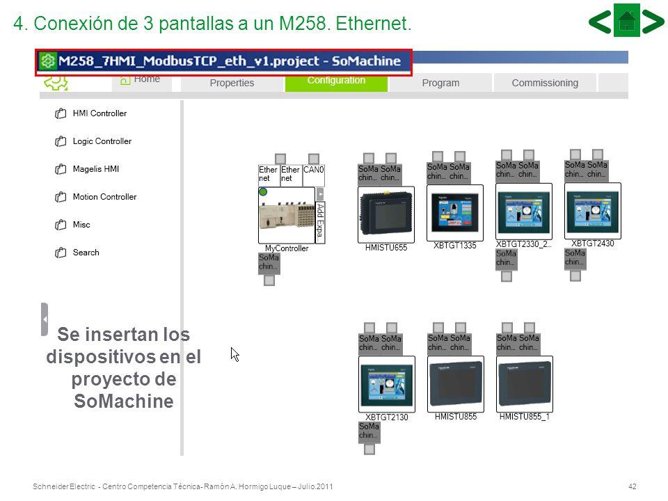 Se insertan los dispositivos en el proyecto de SoMachine