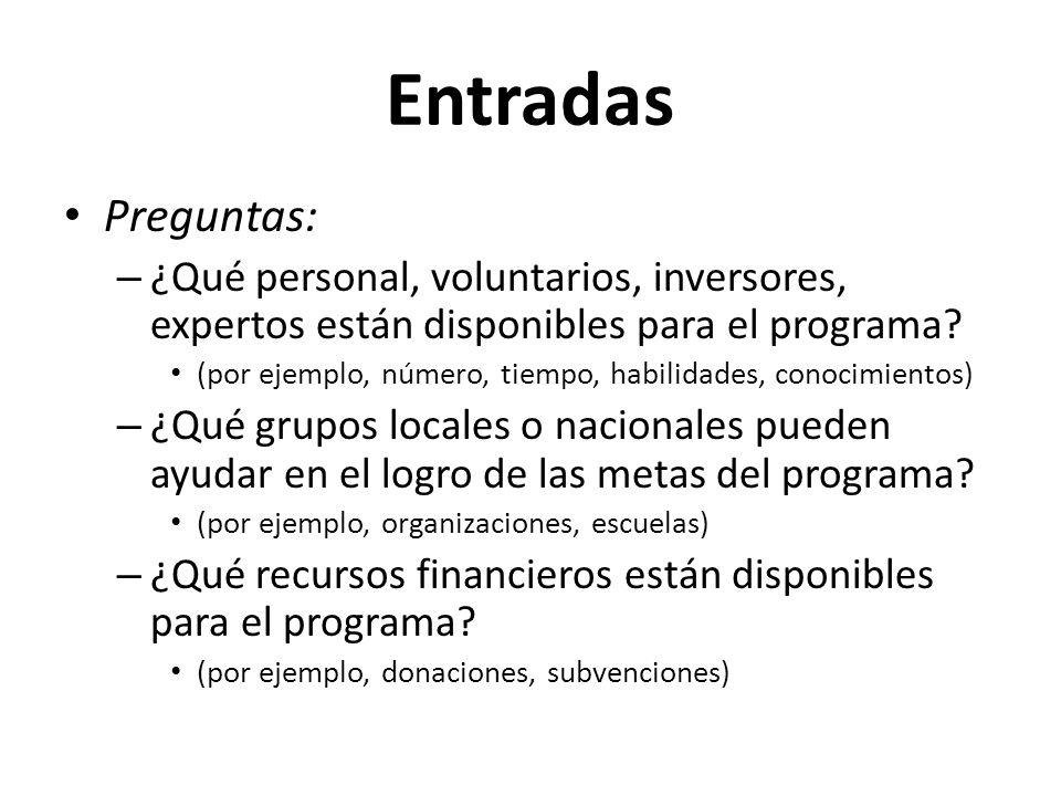 Entradas Preguntas: ¿Qué personal, voluntarios, inversores, expertos están disponibles para el programa