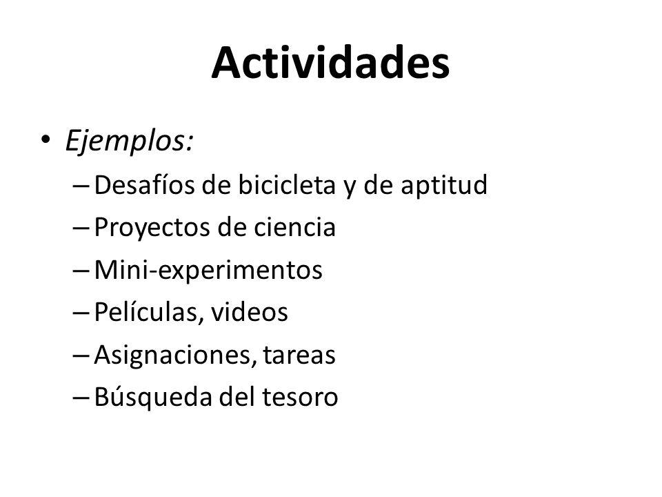 Actividades Ejemplos: Desafíos de bicicleta y de aptitud