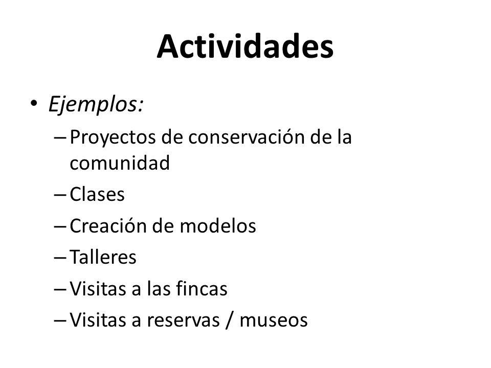 Actividades Ejemplos: Proyectos de conservación de la comunidad Clases