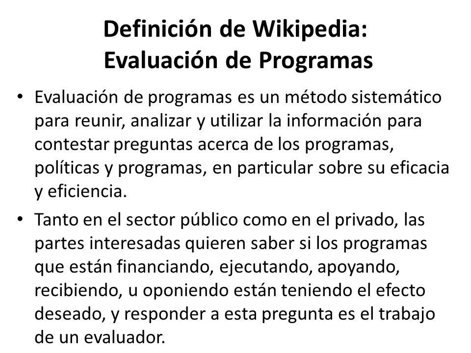 Definición de Wikipedia: Evaluación de Programas