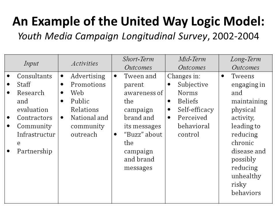 An Example of the United Way Logic Model: Youth Media Campaign Longitudinal Survey, 2002-2004