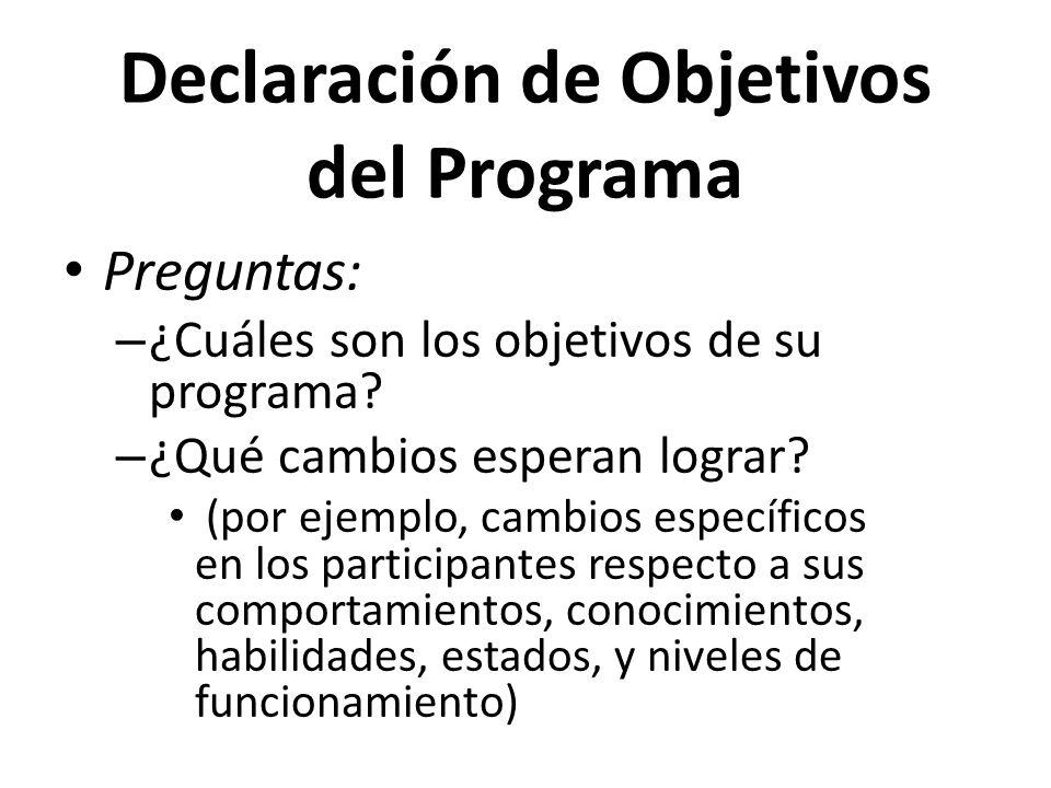 Declaración de Objetivos del Programa