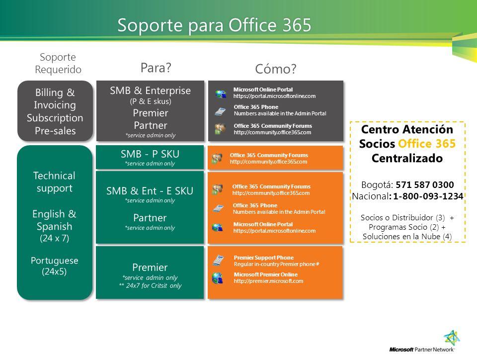 Centro Atención Socios Office 365