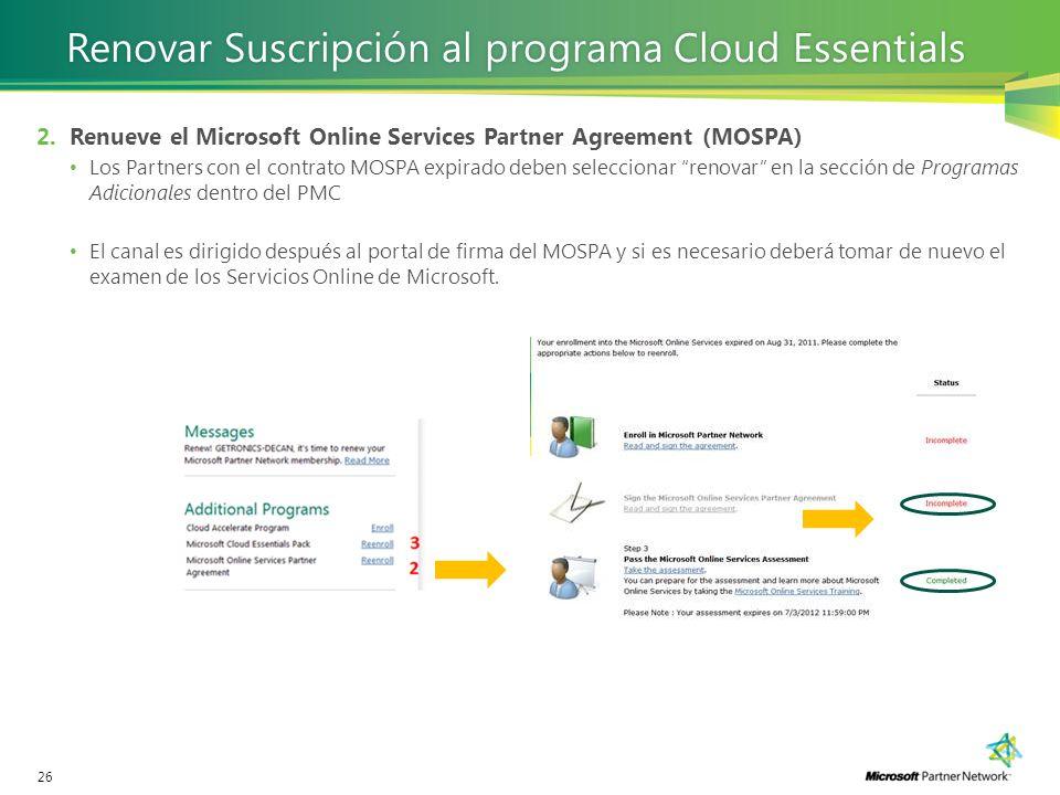 Renovar Suscripción al programa Cloud Essentials