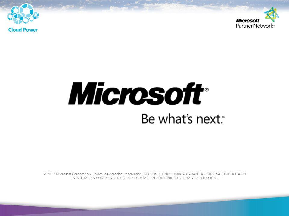 © 2012 Microsoft Corporation. Todos los derechos reservados
