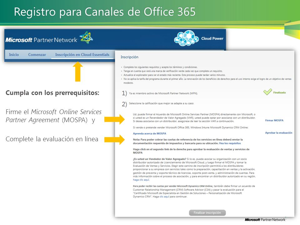 Registro para Canales de Office 365