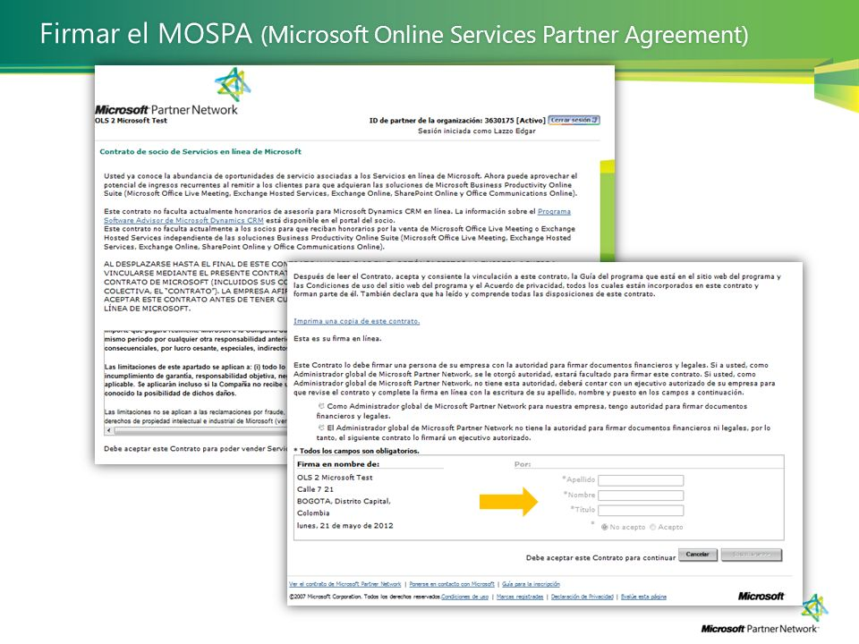 Firmar el MOSPA (Microsoft Online Services Partner Agreement)