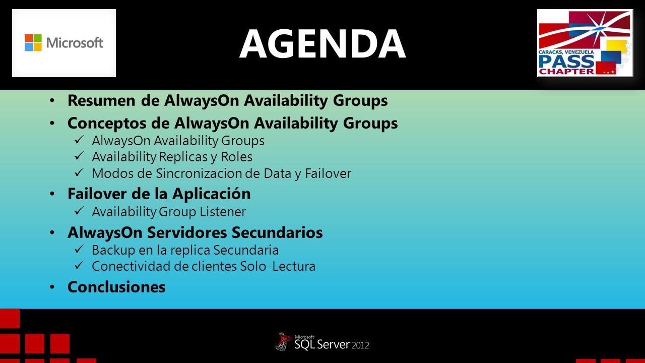 AGENDA Resumen de AlwaysOn Availability Groups