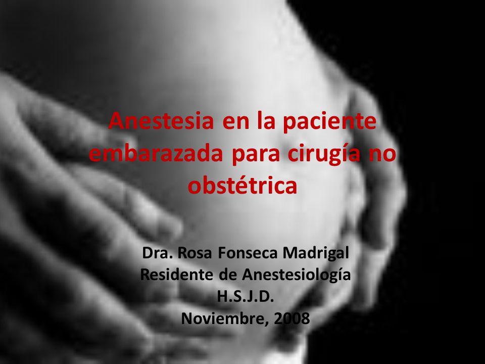 Anestesia en la paciente embarazada para cirugía no obstétrica